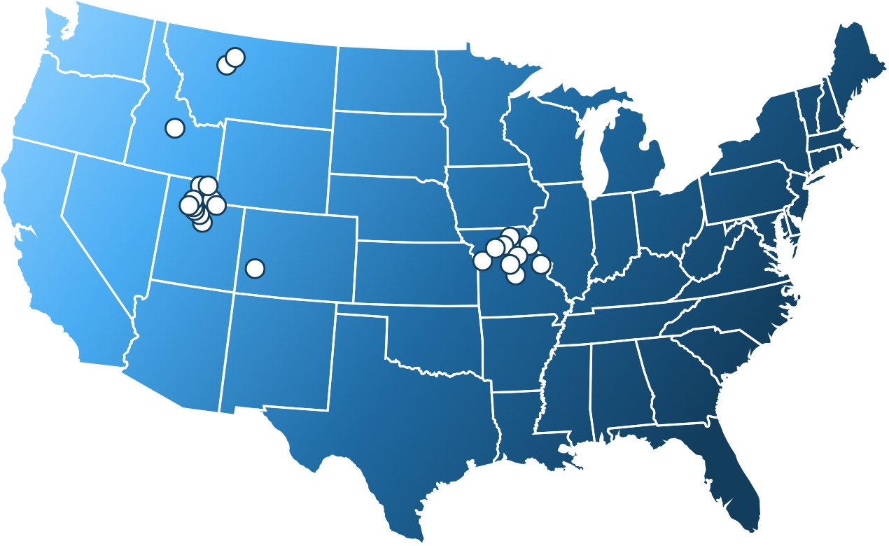 Map of United States showing Budingen Architecture client locations