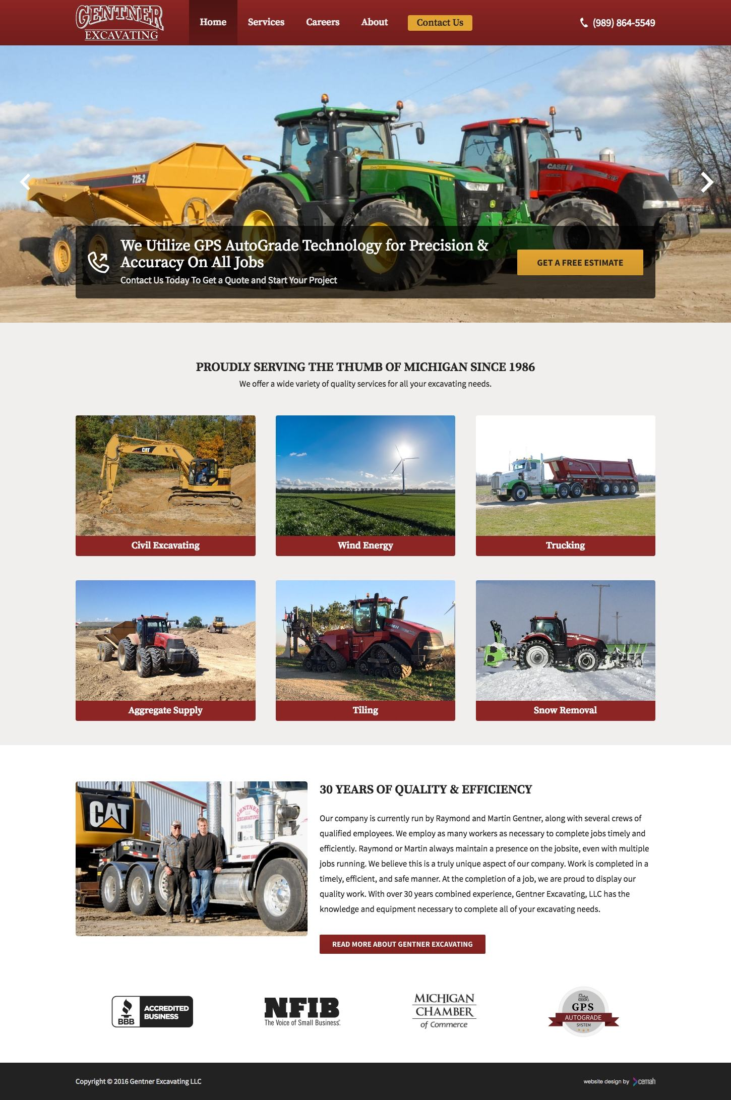 Excavating website design layout featuring the homepage for a civil excavation small business