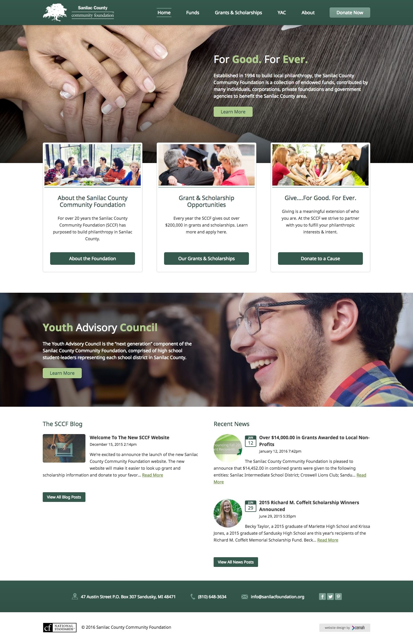 Community foundation website design layout featuring the homepage for an county foundation