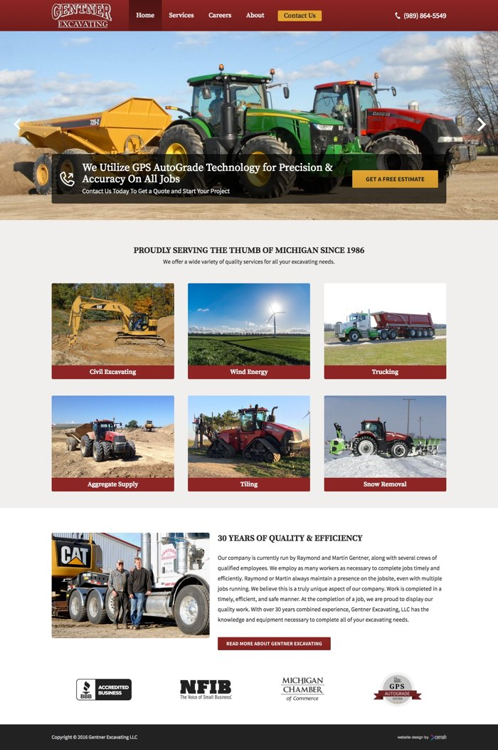 Excavating website design thumbnail featuring the homepage for a civil excavation small business