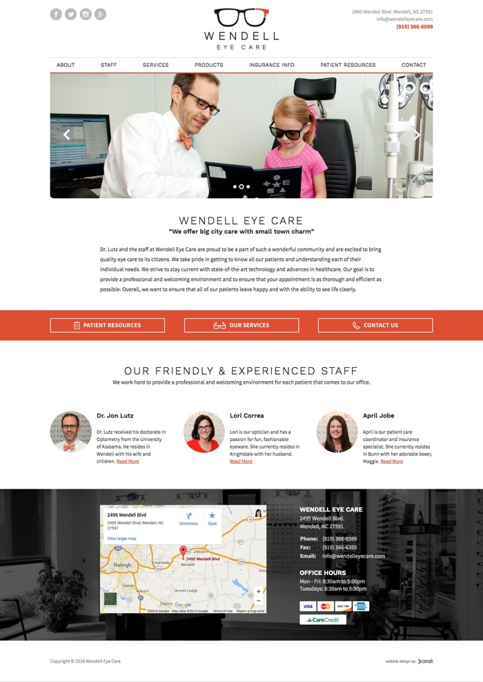 Optometry website design thumbnail featuring the homepage for an eye care office small business