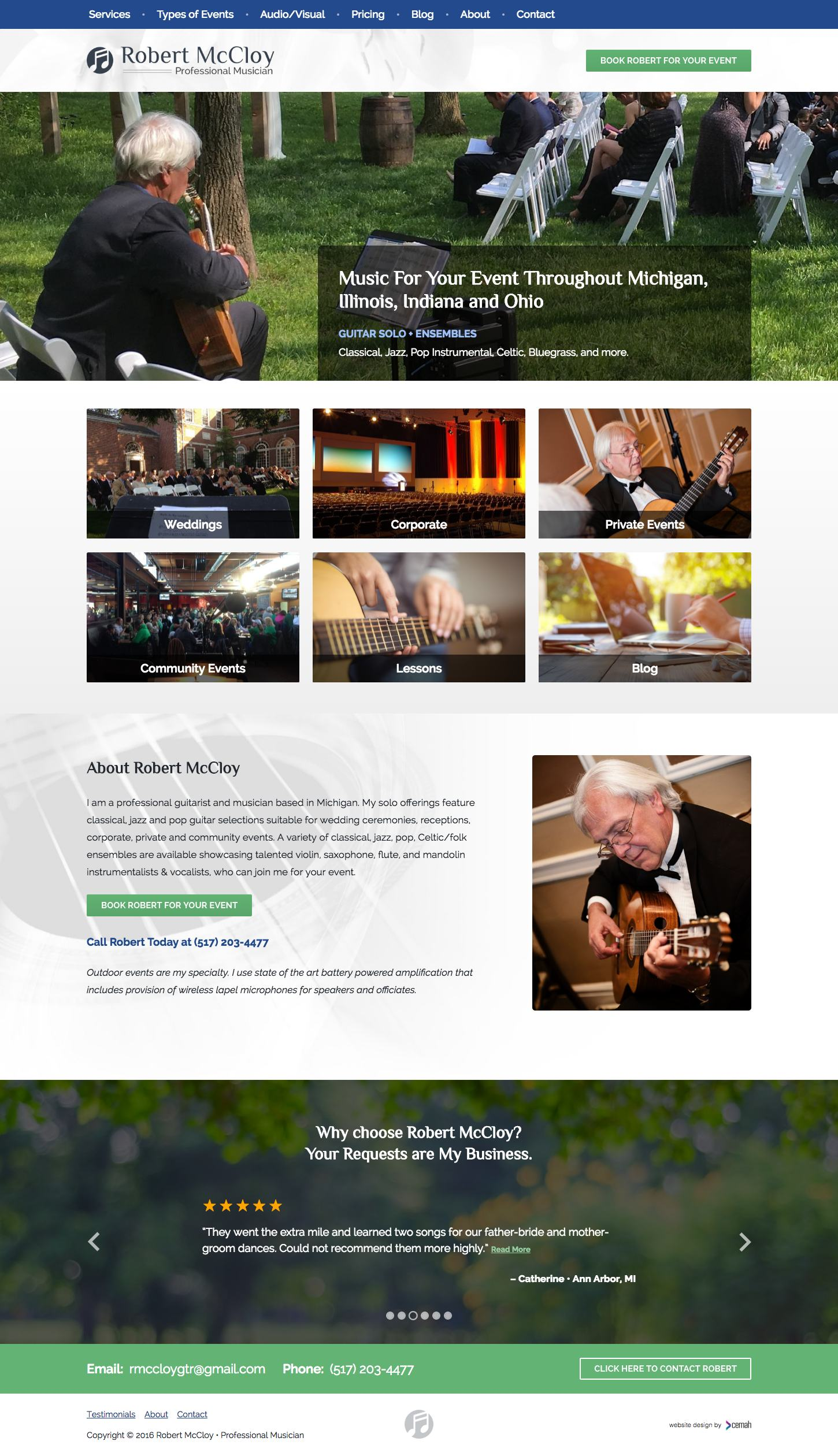 Wedding musician website design layout featuring the homepage for an independent musician small business