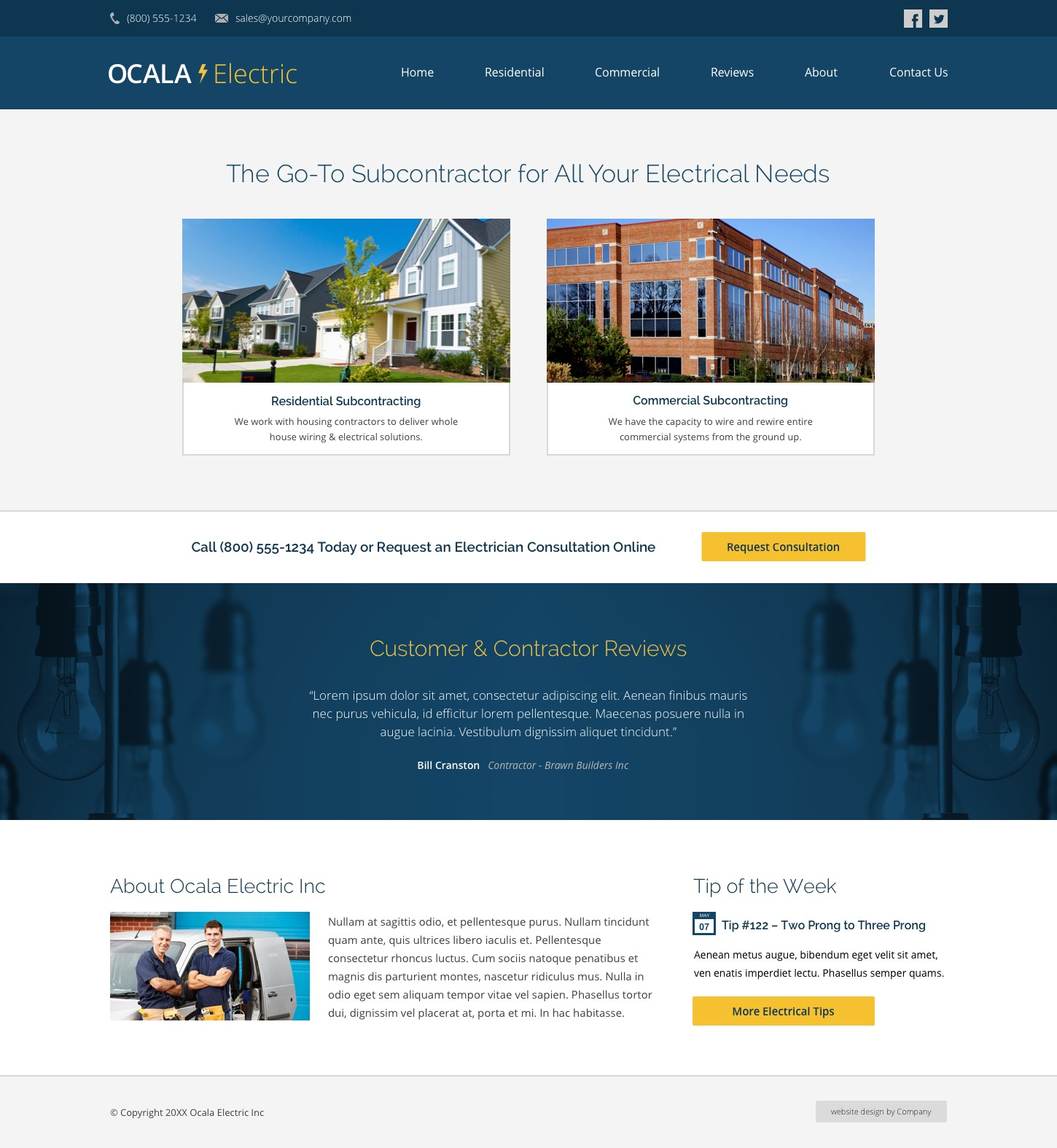Homepage Web Design Tips: Electrician Website Design Example • Web Ideas • Cemah