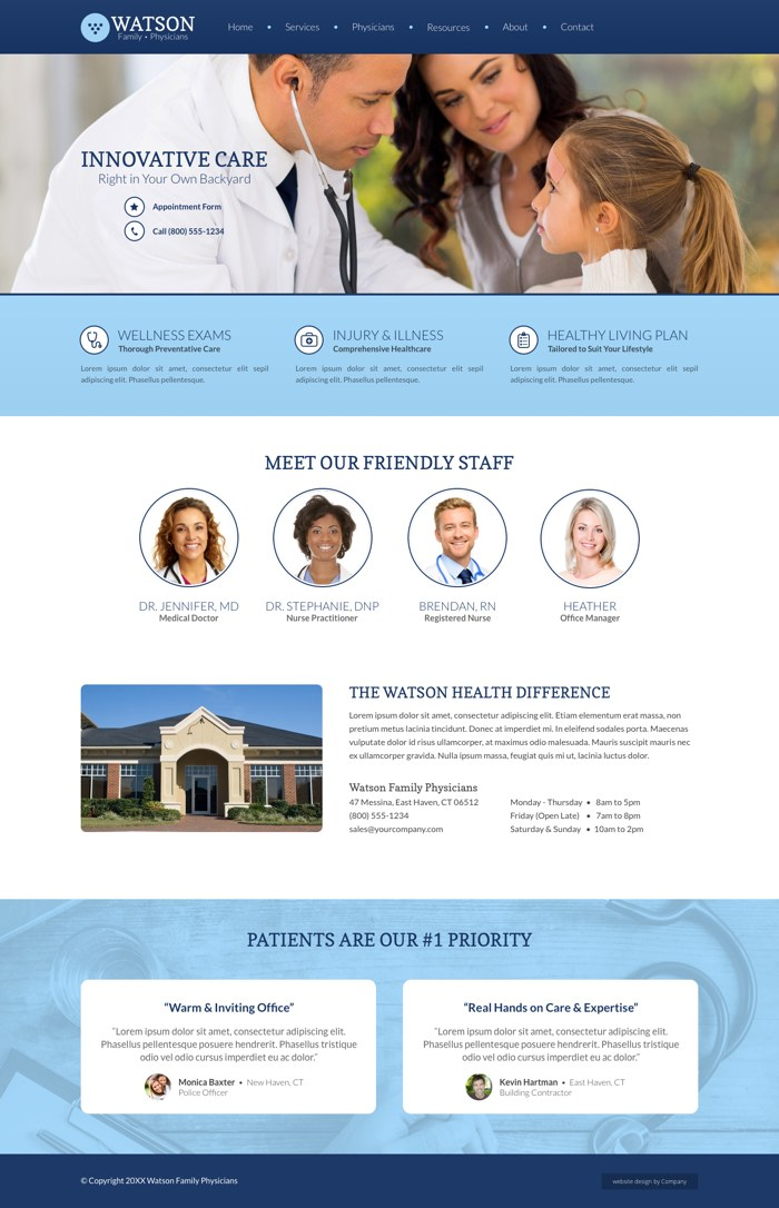 Thumbnail image for a medical website design example layout
