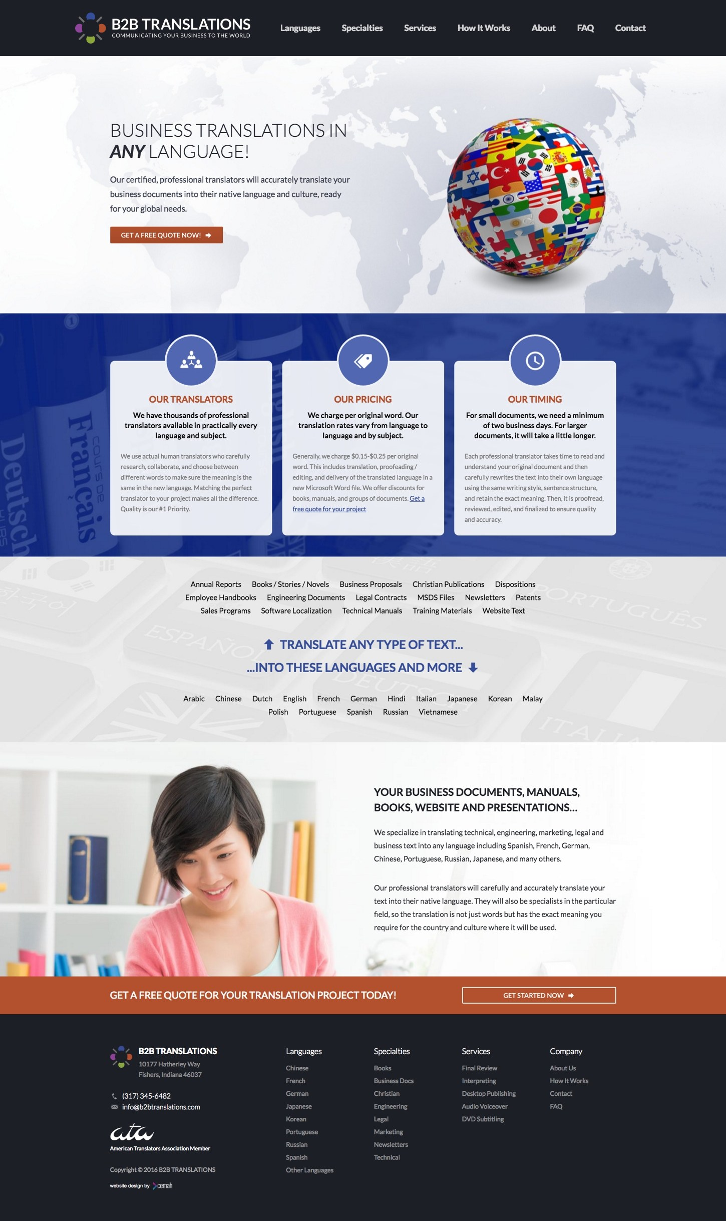 Translation website design idea featuring the homepage for a language translation small business