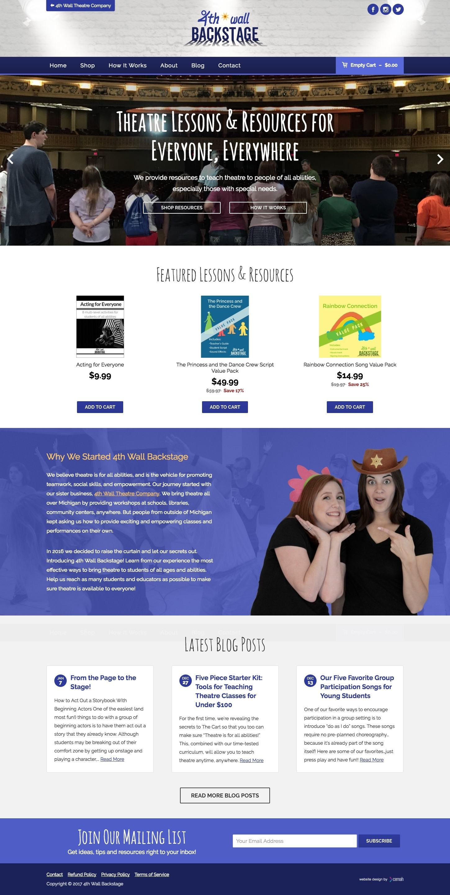 Theatre product website design layout featuring the homepage for an eCommerce theatre scripts small business