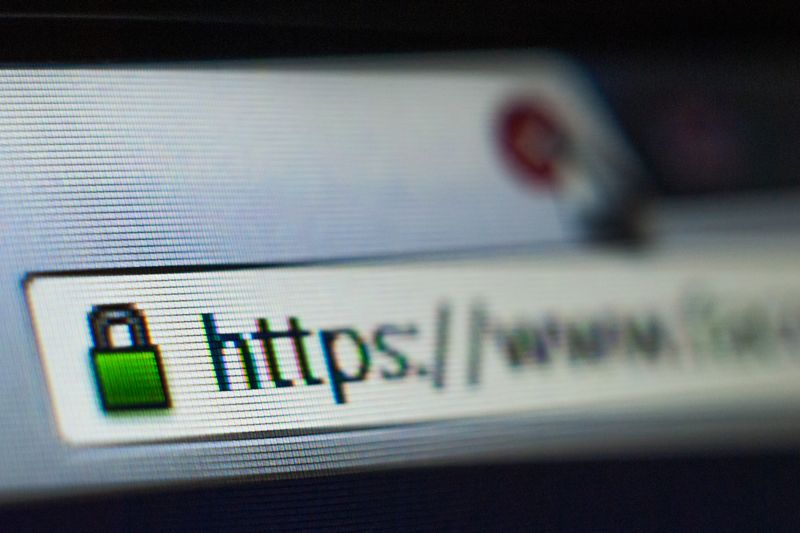 Browser window with secure domain name