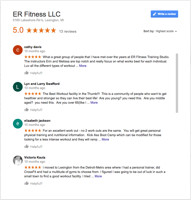 ER Fitness small business reviews on Google My Business