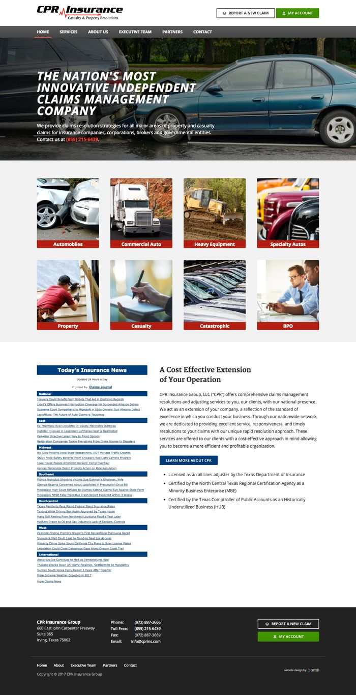 Insurance website design thumbnail featuring the homepage for an independent claims management small business
