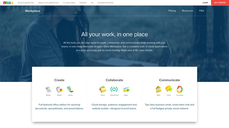 Zoho Workplace homepage free branded email solution for small business