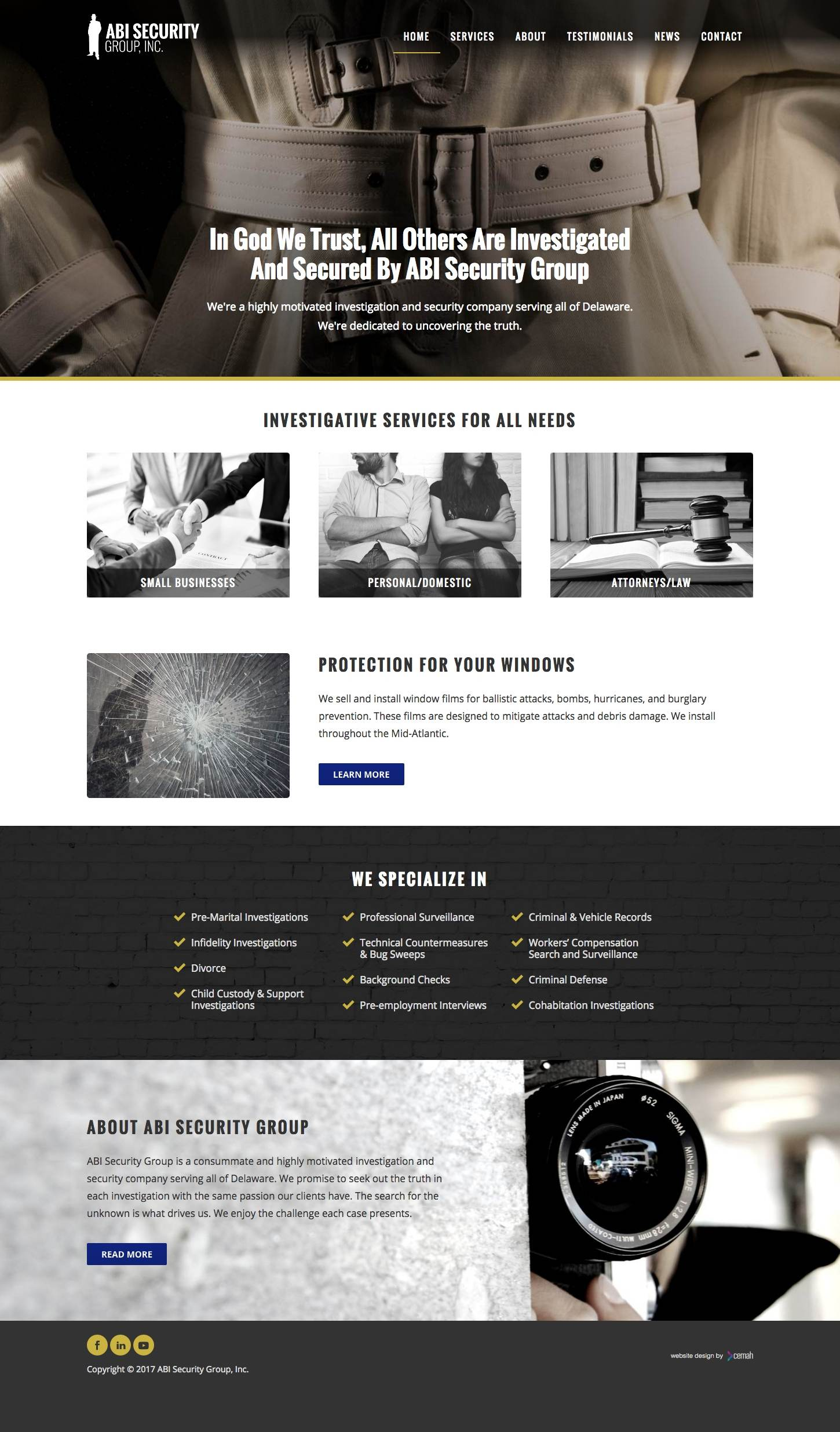 Private investigator website design layout featuring the homepage for an investigation small business