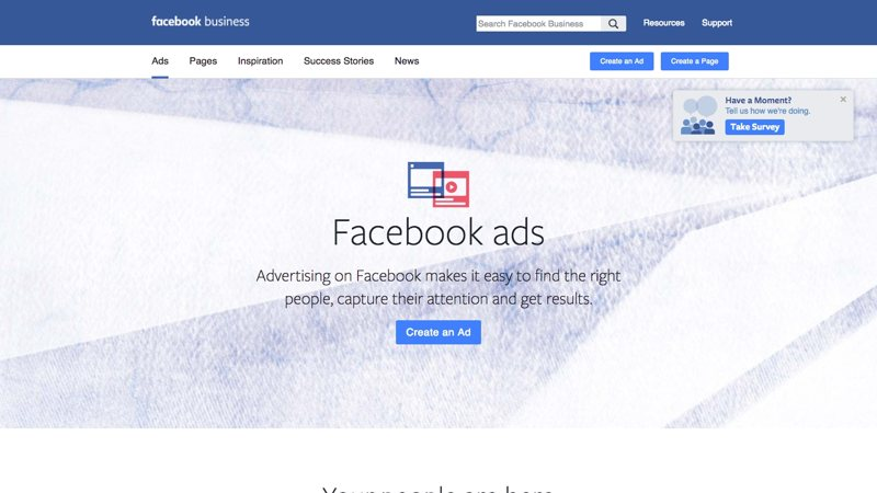 Screenshot of facebook ppc advertising platform for small business.