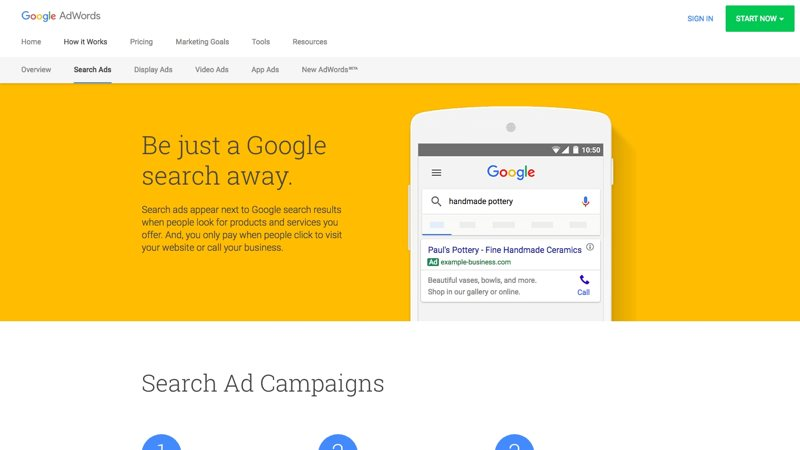 Screenshot of Google Adwords ppc advertising platform for small business.