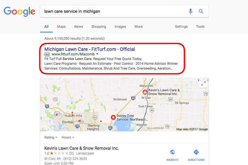 Pay-per-click advertising search result on Google for a lawn care service.