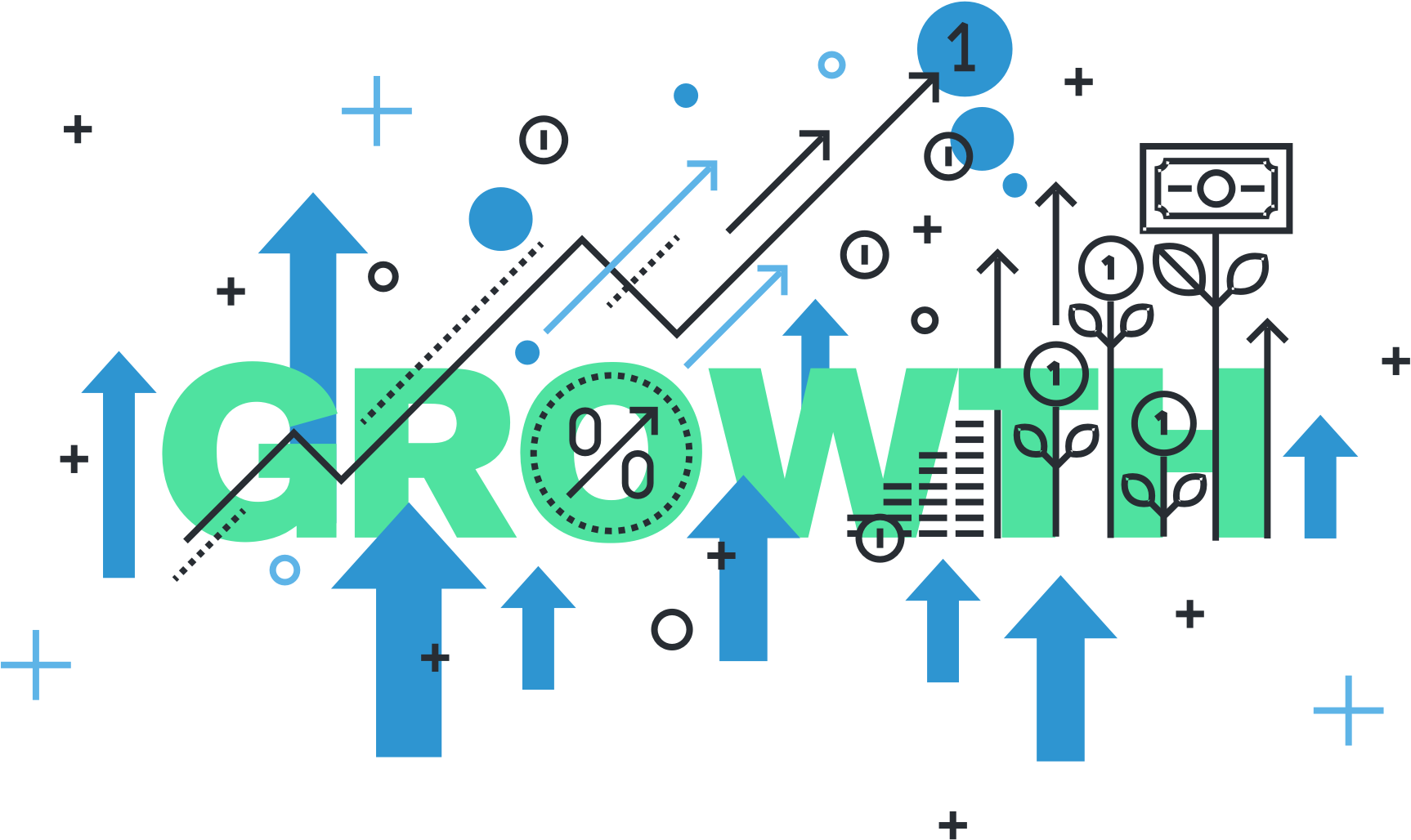 Growth illustration for small business growth through pay-per-click advertising.