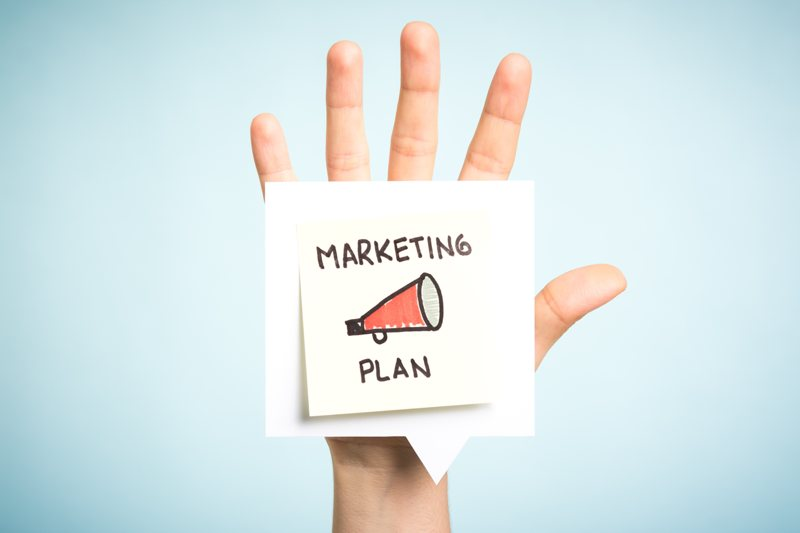 Small business marketing plan in hand.