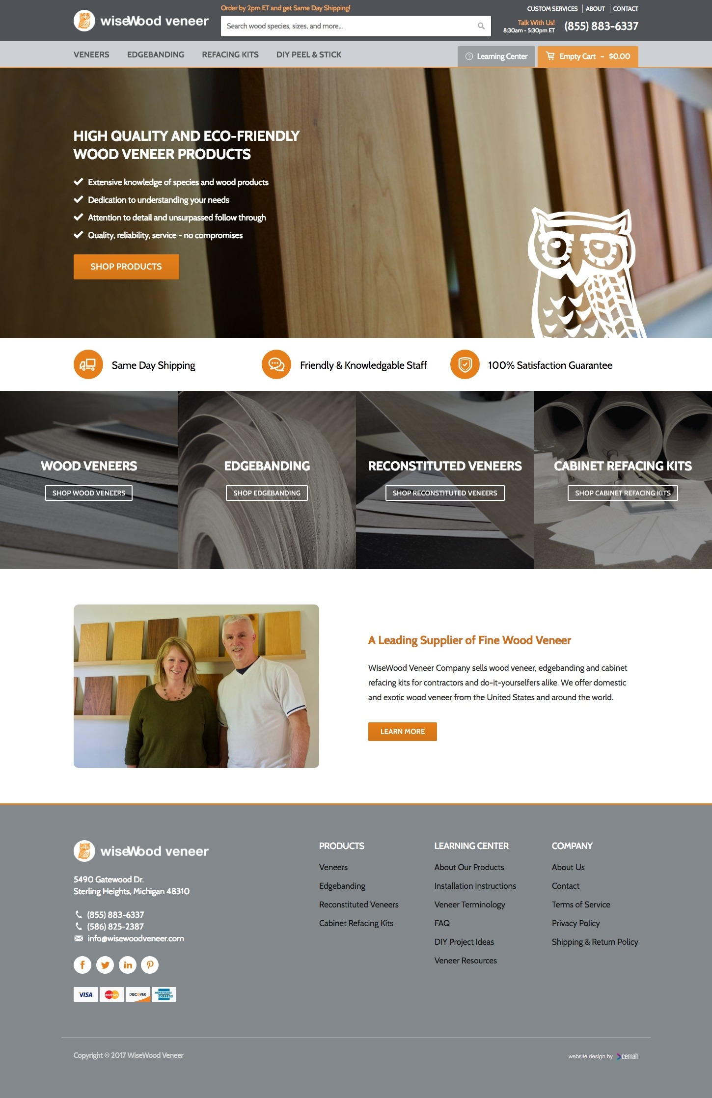 ECommerce website design layout featuring the homepage for a veneer supplier small business