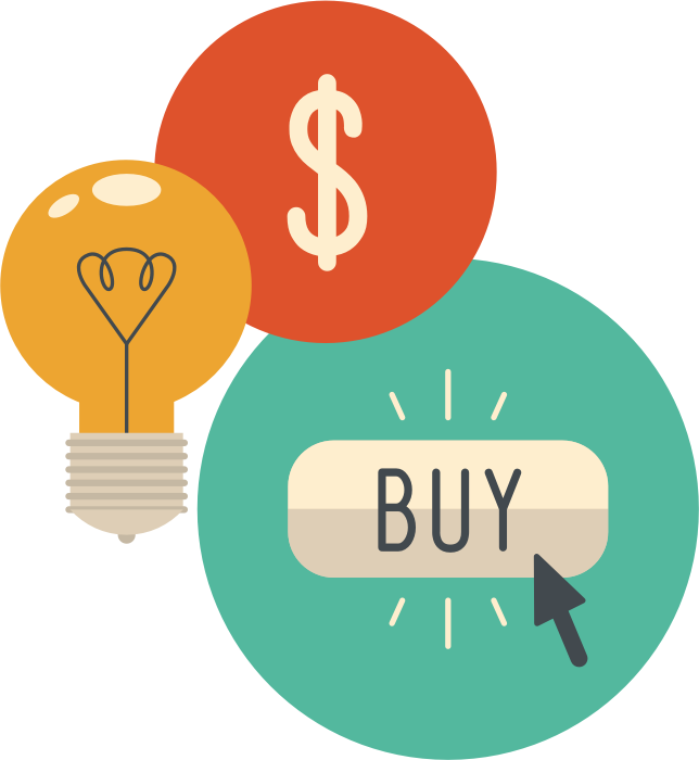 Buy button illustration with lightbulb and money symbol