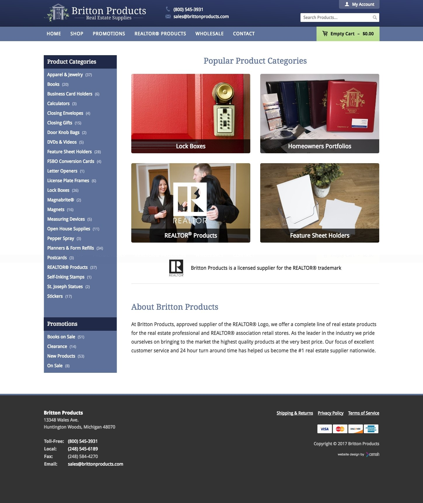 Real estate products website design layout featuring the homepage for a realtor product supplier small business