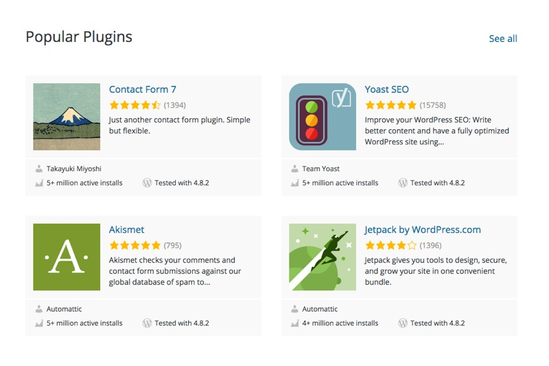 Screenshot of popular wordpress plugins for small business owners