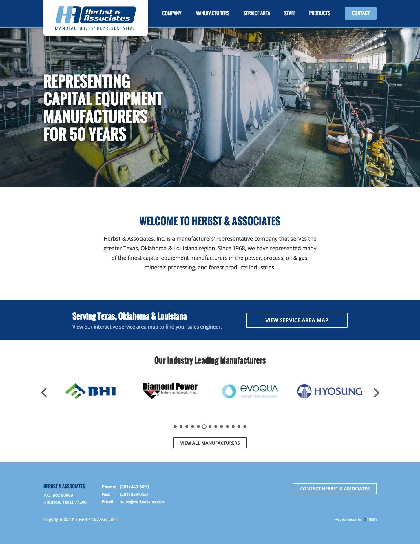 Manufacturing website design layout featuring the homepage for an oil and gas industry representative small business