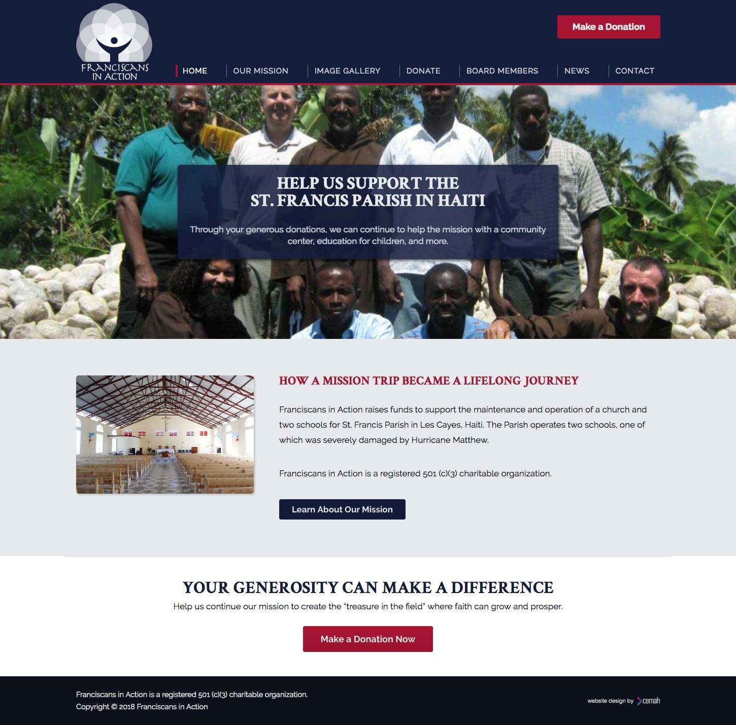 Custom non profit website design created for an organization helping out people in Les Cayes, Haiti.