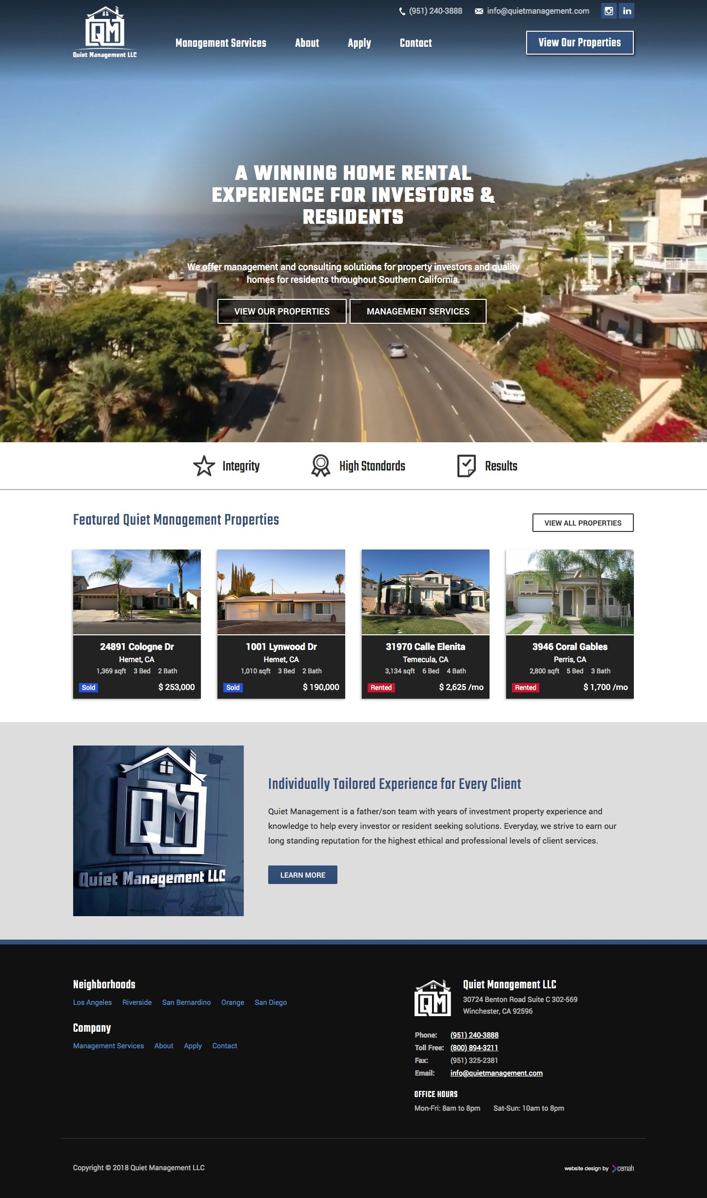 Rental property website design custom layout created for a property management company in Southern California.