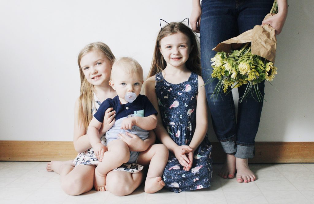 flowers and children