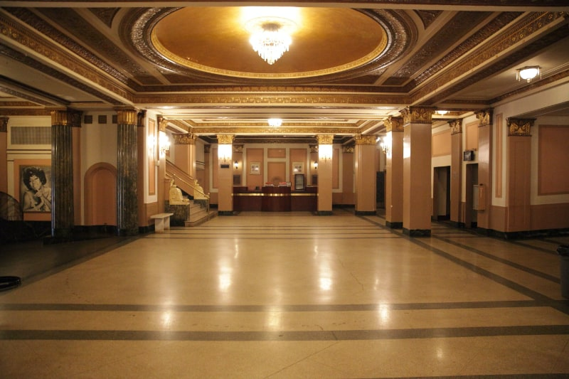 newark symphony hall lobby with open floor and chandelier