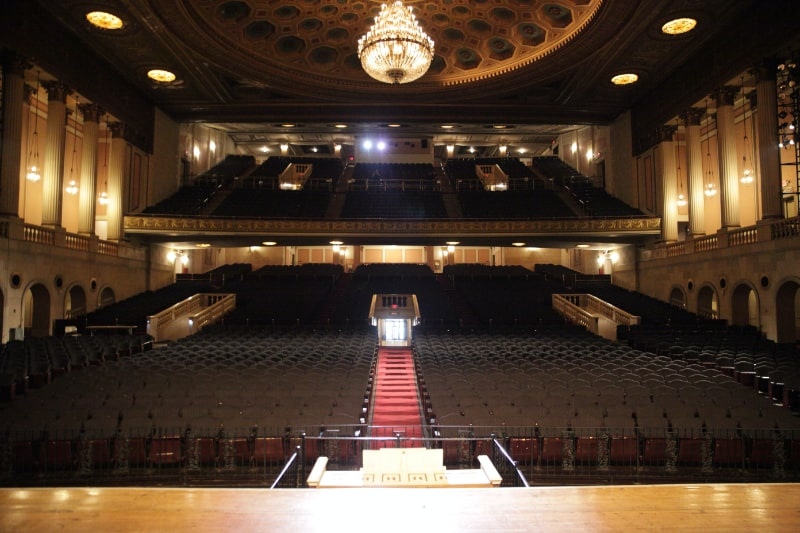 newark symphony hall on stage looking over empty chairs