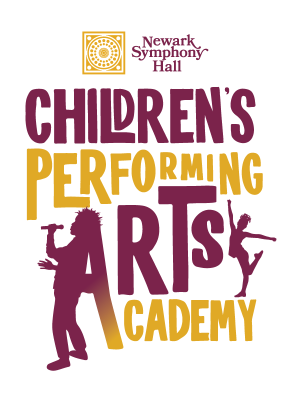 logo in yellow and maroon for children's performing art academy
