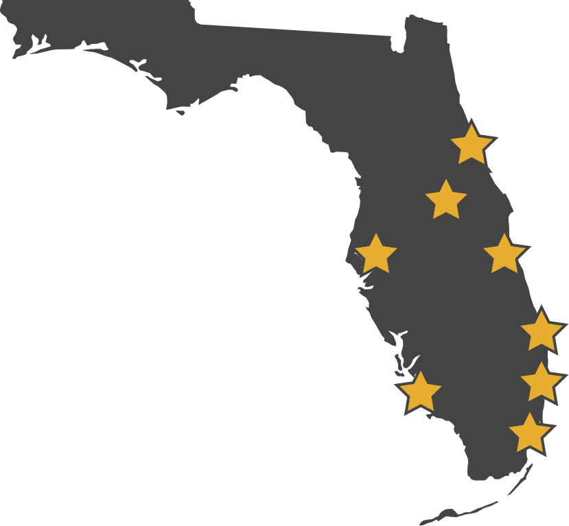 illustration of florida with stars marked on cities serviced