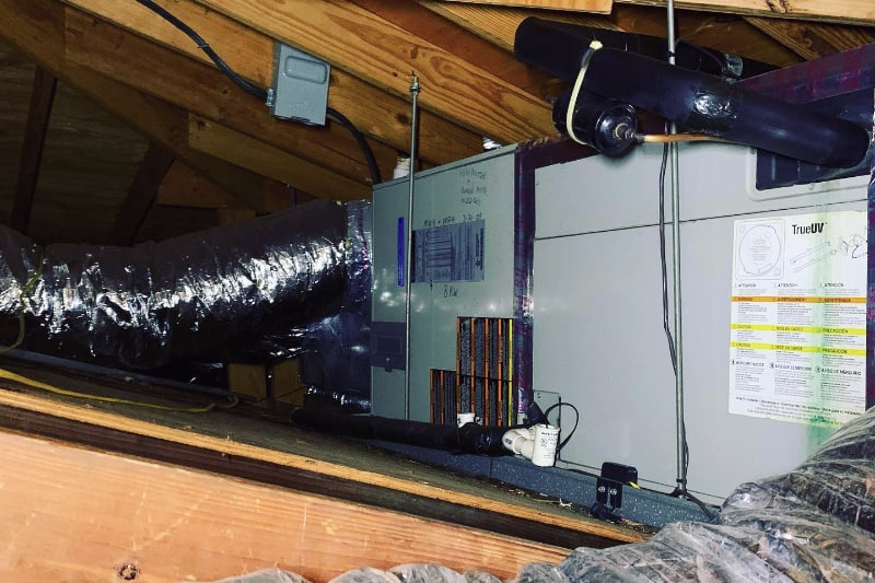 HVAC system in the attic of a home