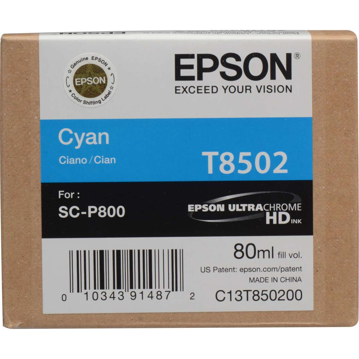 Epson UltraChrome Cyan Ink Cartridge (T850200) Epson SureColor P800 Series  Ink