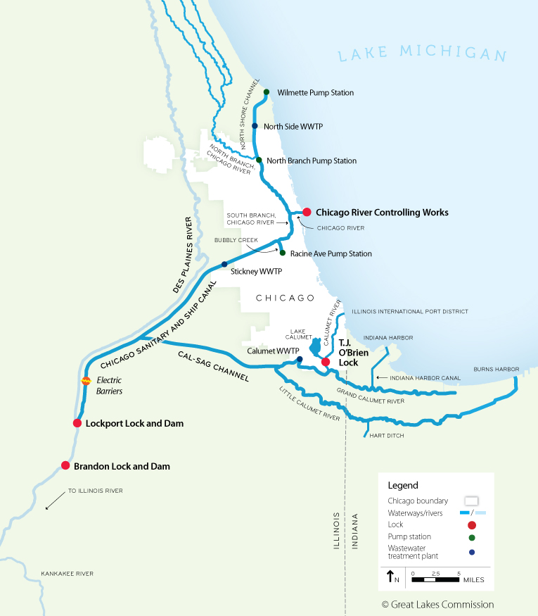Chicago Waterways Map Restoring the Natural Divide