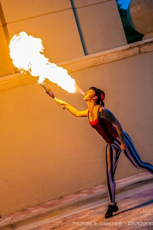 Fire eater specialty acts.