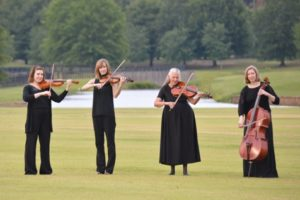 String ensemble quartet playing in a field.