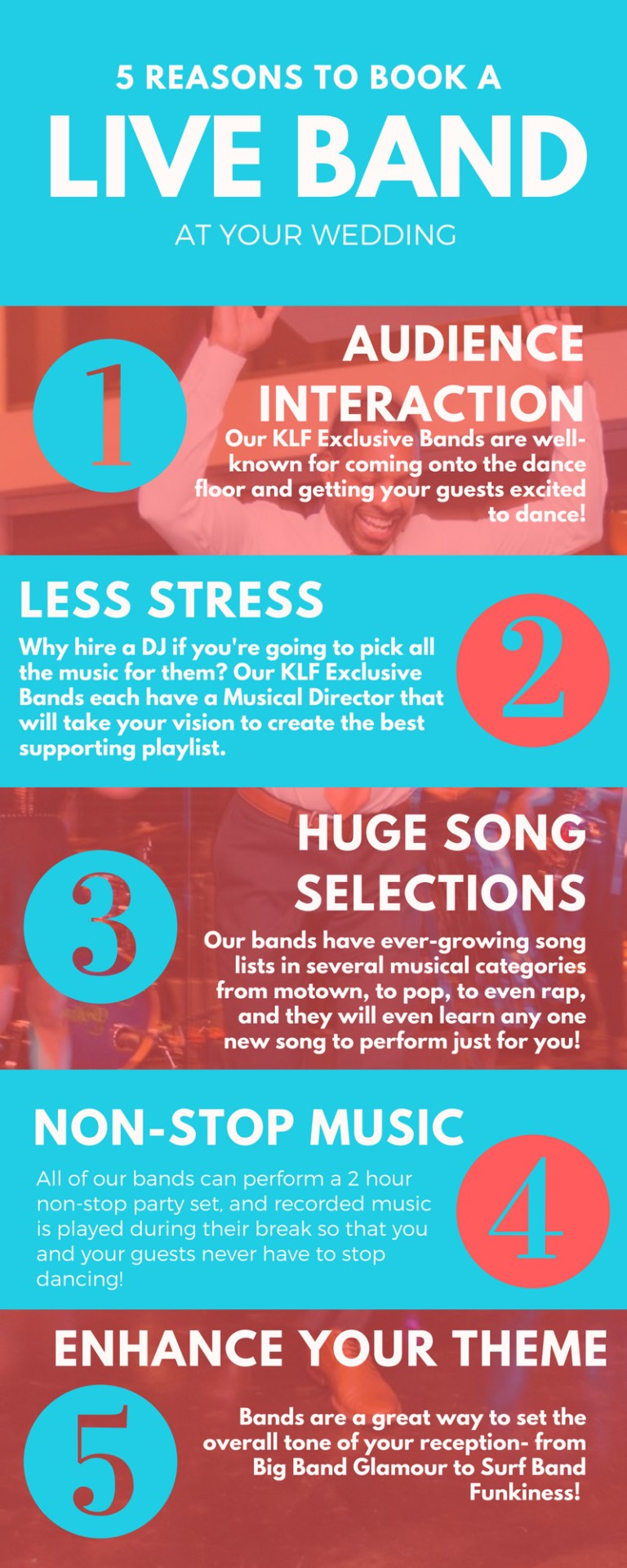 5 reasons to book a live band at your wedding infographic