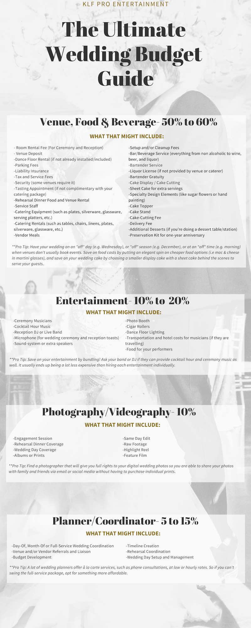 The Ultimate Wedding Budget Guide Klf Pro Entertainment